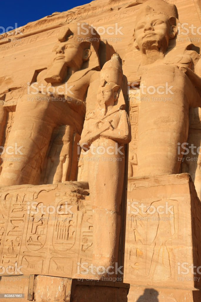 Colossal statues of King Ramses II at the  Sun Temple, Abu Simbel in Egypt stock photo