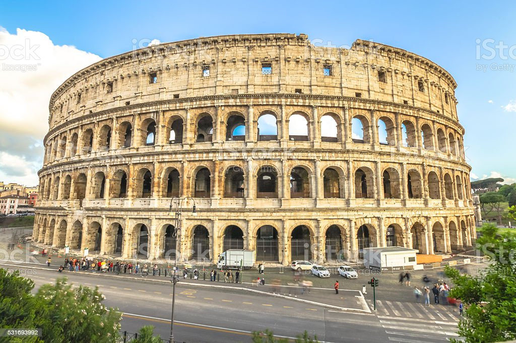 Colosseo aerial view stock photo
