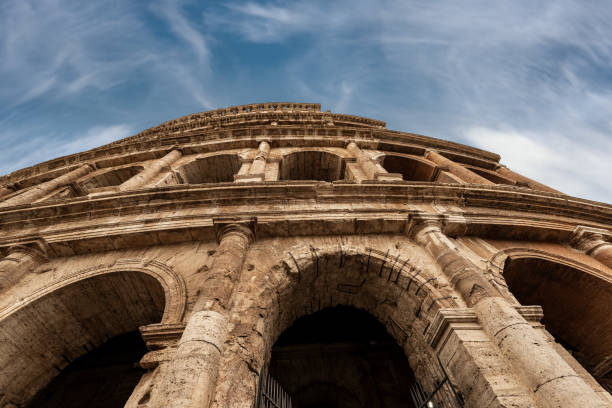 Colosseo of Rome - Ancient coliseum in Italy Colosseo of Rome, Amphitheatrum Flavium 72 a.D. Ancient Coliseum or Colosseum. UNESCO world heritage site. Latium, Italy, Europe ancient rome stock pictures, royalty-free photos & images