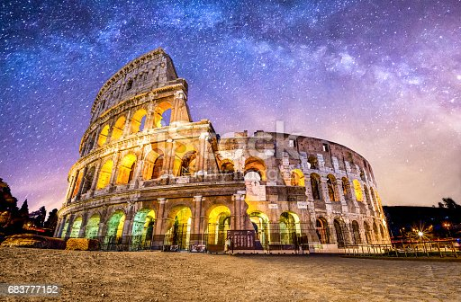 front view of Coliseum of Rome at night with the milky way. Italy