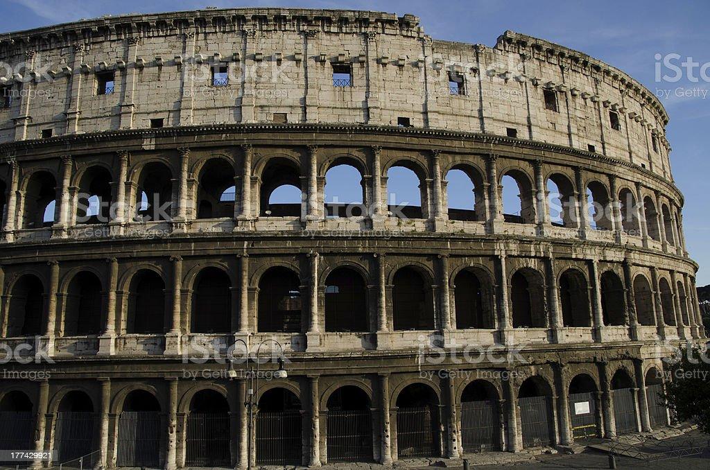 Colosseum, Ancient Roman Flavian Amphitheatre. Landmark in Rome, Italy, Europe royalty-free stock photo