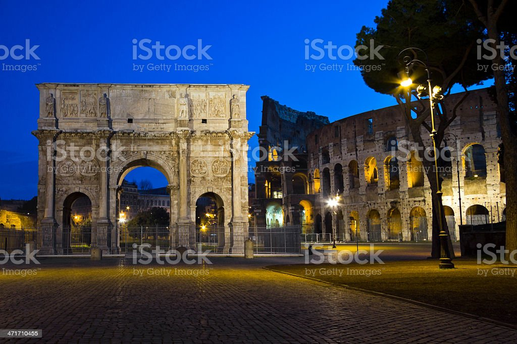 Colosseum and acrh of Costantine, Rome, Italy royalty-free stock photo