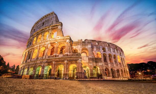Colosseum at sunrise, Rome, Italy stock photo