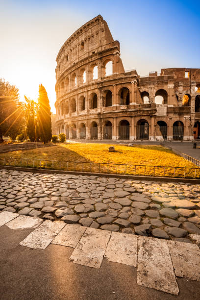Colosseum at sunrise, Rome, Italy Colosseum at sunrise, Rome, Italy rome italy stock pictures, royalty-free photos & images