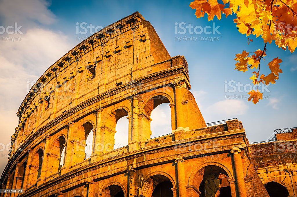 Colosseum at sunset stock photo