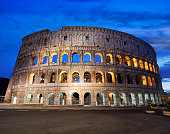 Colosseum at sunset in Rome, Italy. Composite photo