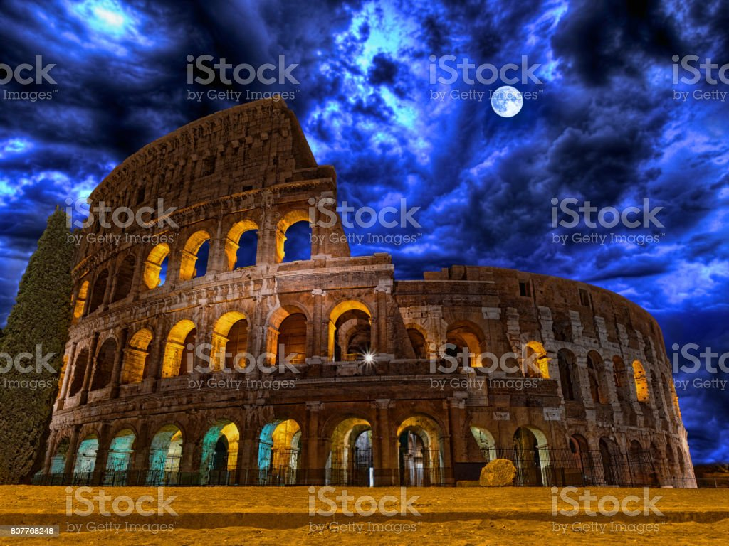 Colosseum by night Rome Italy stock photo