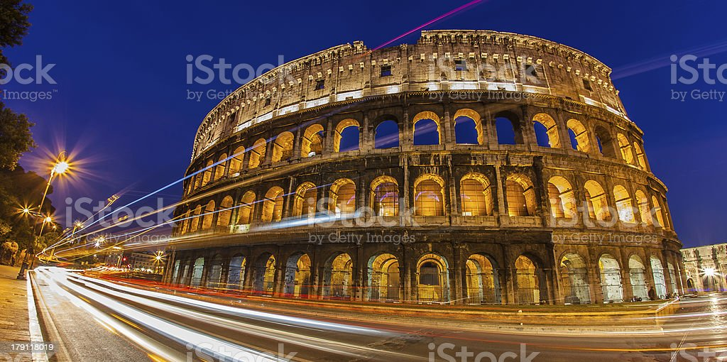 Colosseum by night, Rome Italy Wide royalty-free stock photo