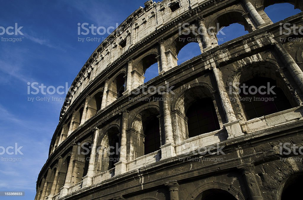 Colosseum close up view, Ancient Roman Flavian Amphitheatre, Rome, Italy royalty-free stock photo