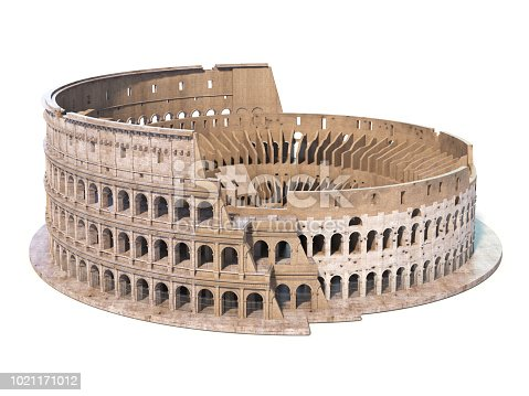 istock Colosseum, Coliseum isolated on white. Symbol of Rome and Italy, 1021171012