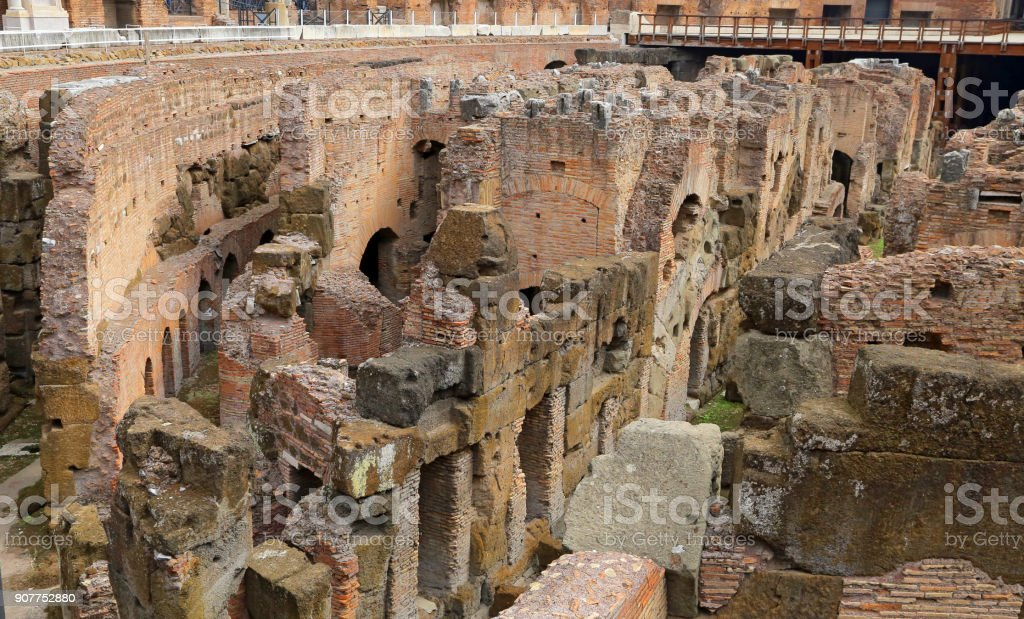 Colosseum, Coliseum or Coloseo, Flavian Amphitheatre largest ever built symbol of ancient Roma city in Roman Empire. stock photo