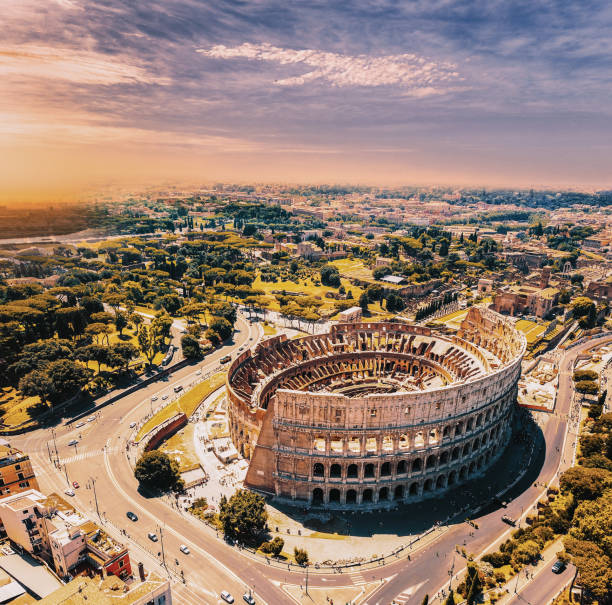 Colosseum in Rome and morning sun, Italy Rome - Italy, Italy, Coliseum - Rome, Europe, Famous Place,Aerial view coliseum rome stock pictures, royalty-free photos & images