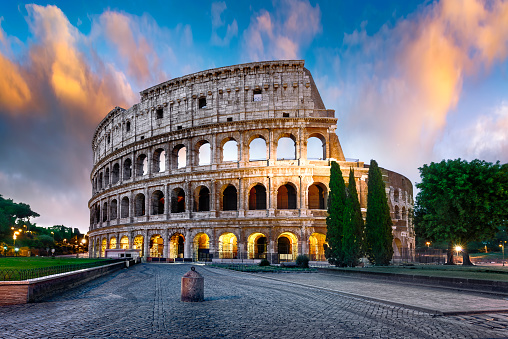 istock Colosseum in Rome at dusk, Italy 632216514