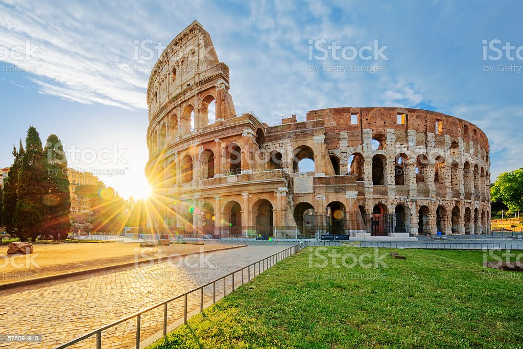 Colosseum in Rome with morning sun stock photo