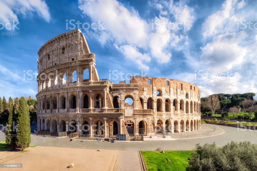Colosseum in Rome without people in the morning, italy Colosseum in Rome without people in the morning, italy Amphitheater Stock Photo