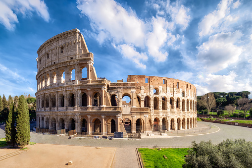Colosseum in Rome without people in the morning, italy