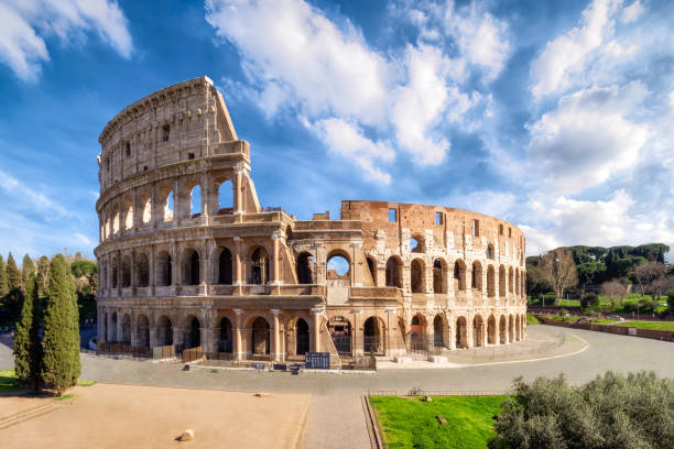 Colosseum in Rome without people in the morning, italy stock photo
