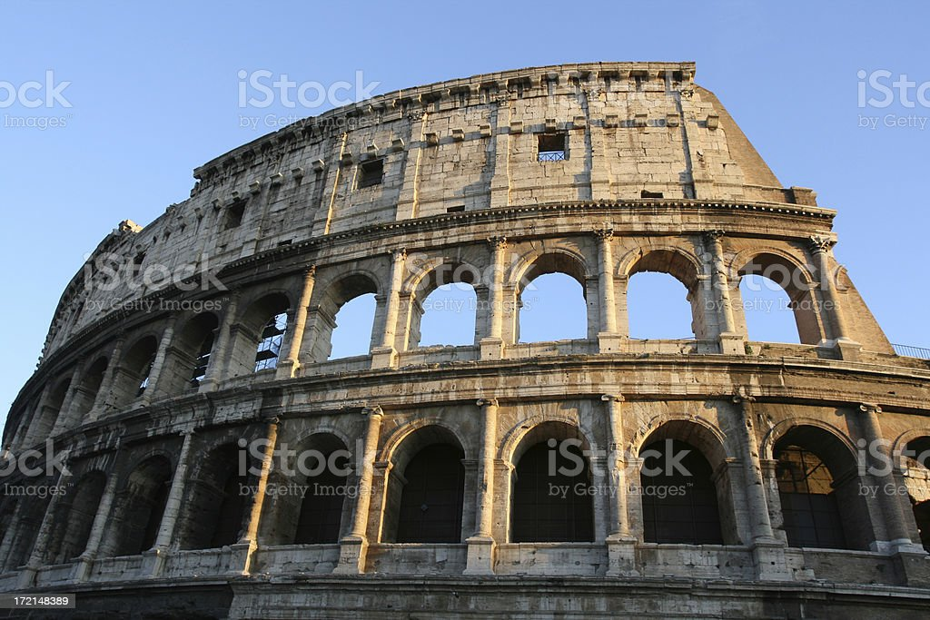 Colosseum in the evening sun, Rome Italy royalty-free stock photo