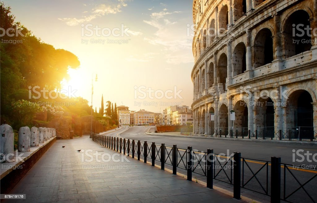 Colosseum in the morning stock photo