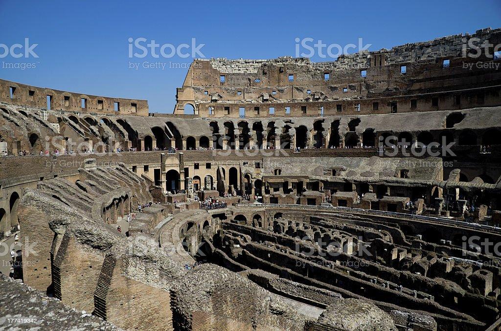 Colosseum interior, Ancient Roman Flavian Amphitheatre. Landmark in Rome, Italy royalty-free stock photo