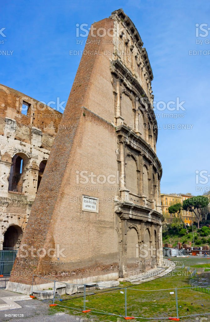 Colosseum or the Flavian Amphitheatre in Rome, Italy stock photo