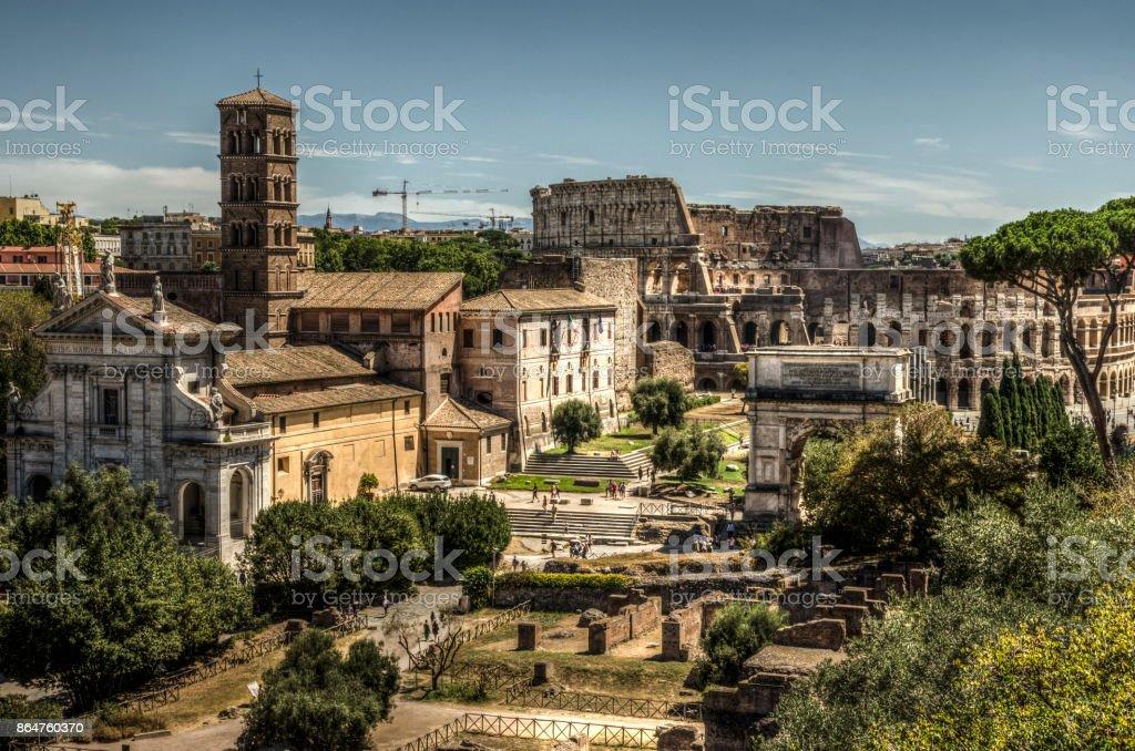 Colosseum & Roman Forum stock photo