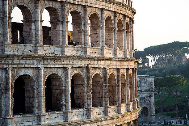 colosseum, rome View of the Colosseum, the arch of Constantine and the Palatine HIll in the background ancient rome stock pictures, royalty-free photos & images