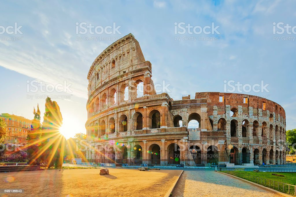 Colosseum sunrise stock photo