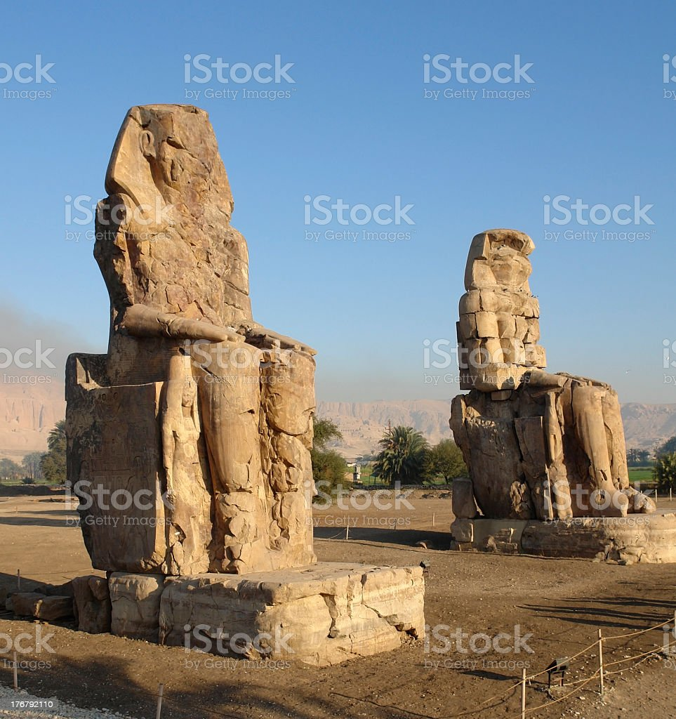 Colossi of Memnon in Egypt royalty-free stock photo
