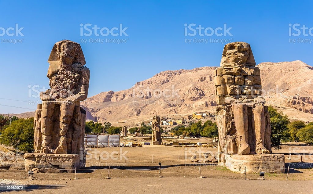Colossi of Memnon (statues of Pharaoh Amenhotep III) near Luxor stock photo