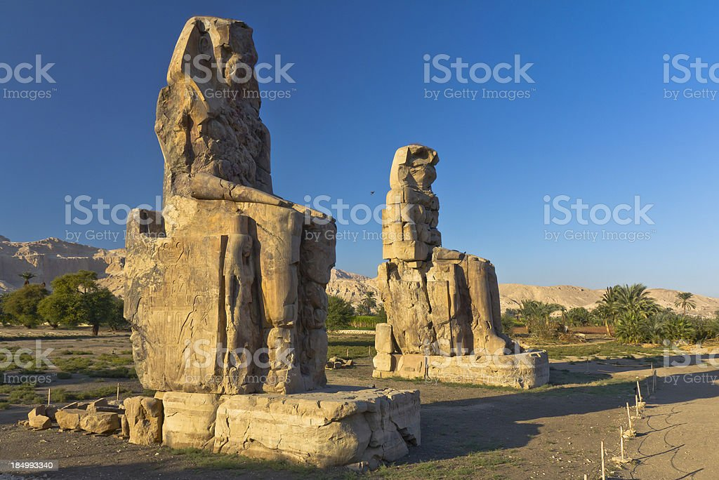 """Colossi of Memnon """"Giant stone statues of Pharaoh Amenhotep III near  the Valley of the Kings, Luxor, EgyptSee more EGYPT images here:"""" Africa Stock Photo"""