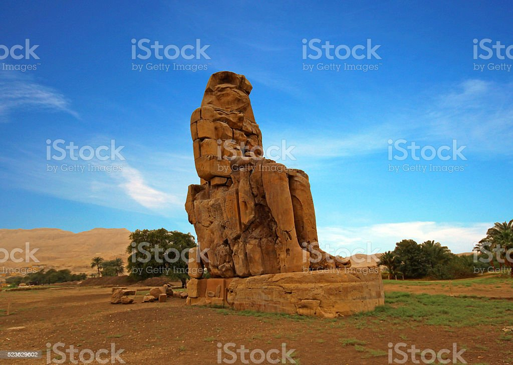 Colossi of Memnon, Valley of Kings, Luxor, Egypt stock photo