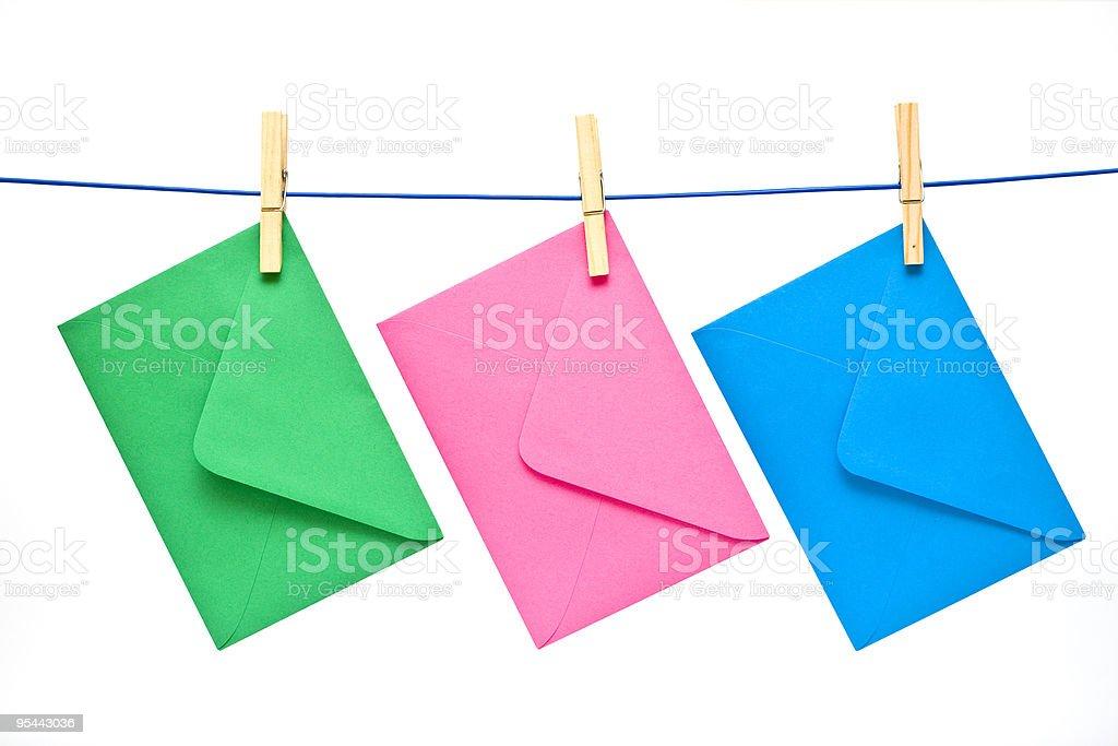 colour envelope on clothespin royalty-free stock photo