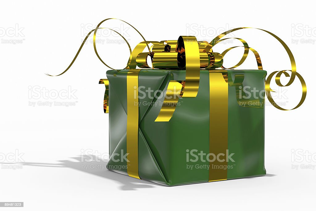 Colour gift box(green) on white background royalty-free stock photo