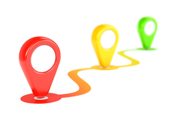 colour gps map path and two pointers - mouse pointer stock photos and pictures