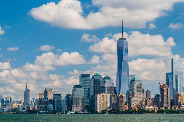 Colour image of Lower Manhattan and Liberty Island, New York, USA stock photo
