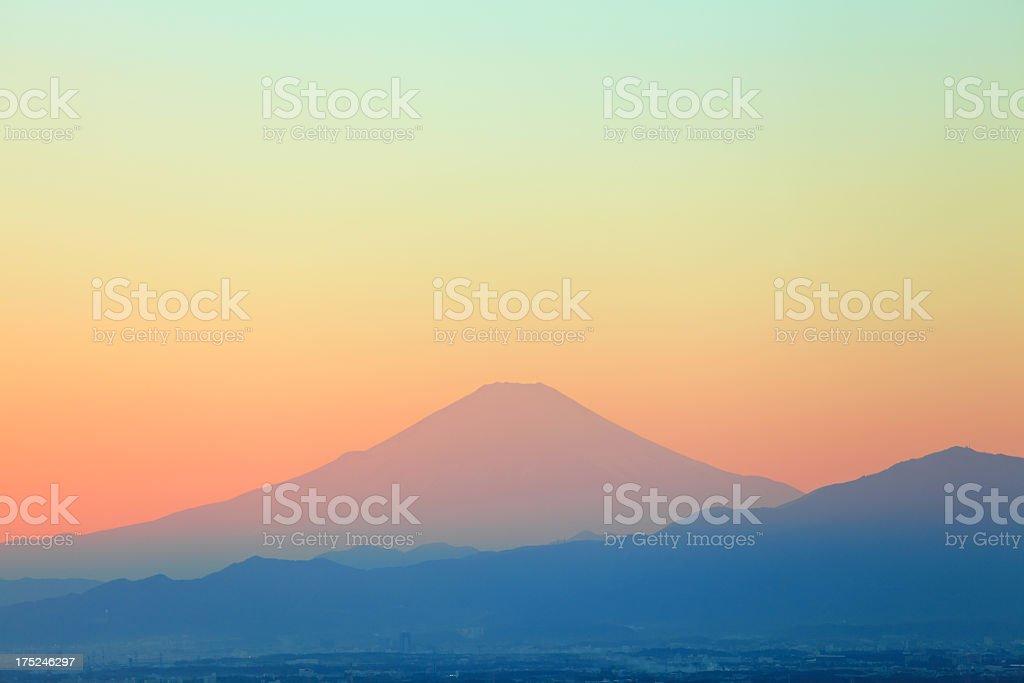 colour of sunrise over Mt. Fuji royalty-free stock photo