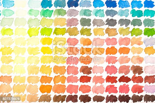 istock Colour palette with watercolours 827379976