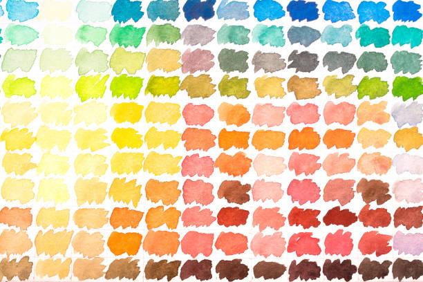 farbpalette mit wasserfarben - lila palette stock-fotos und bilder