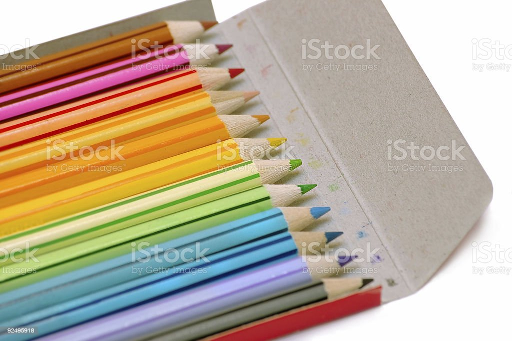 Colour  pencil from case royalty-free stock photo