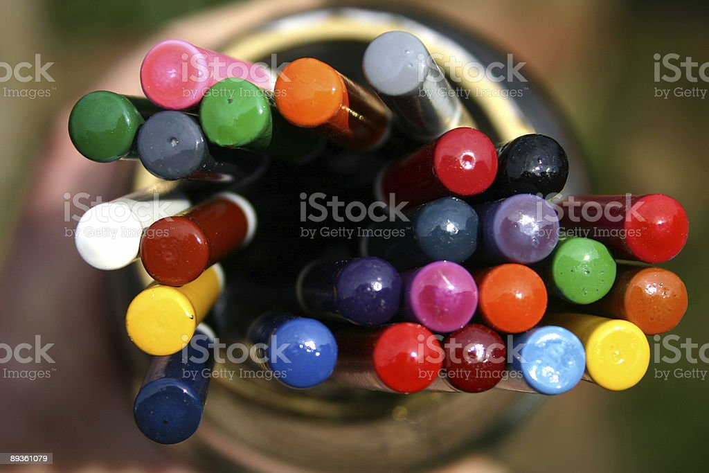 Colour pencil heads royalty free stockfoto