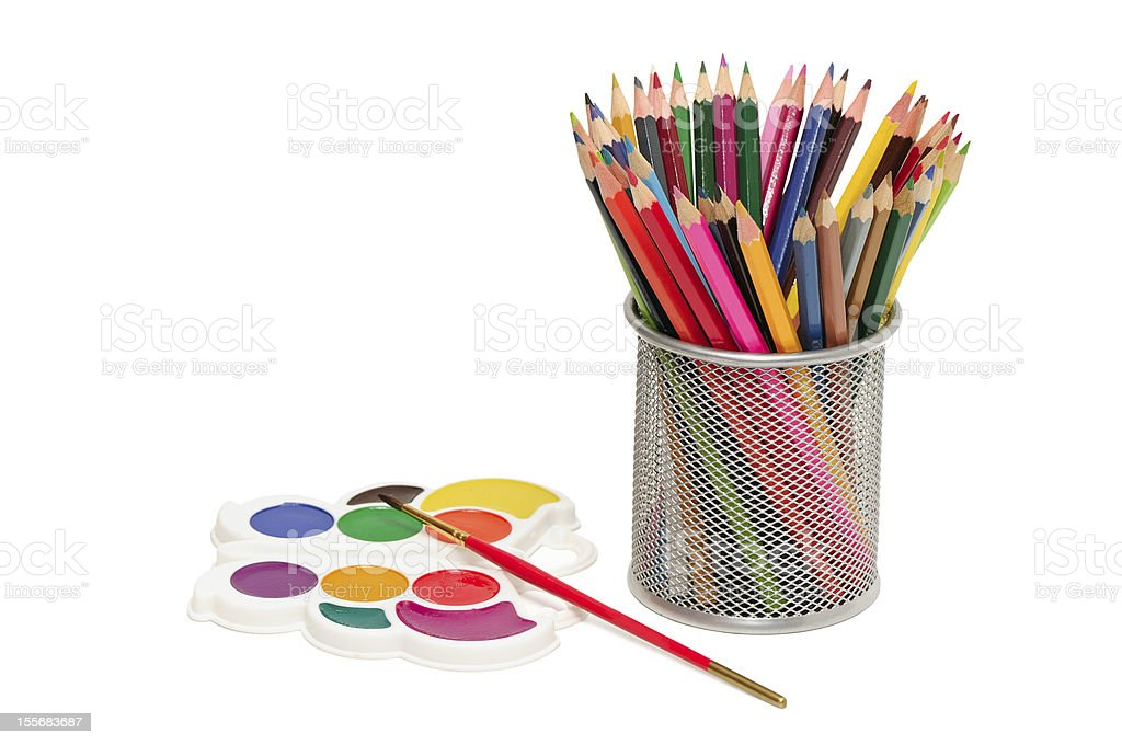 Colour pencils and watercolor royalty-free stock photo