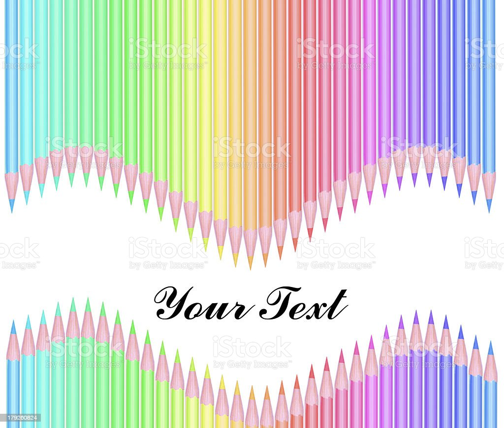 Colour pencils isolated on white background with text royalty-free stock photo