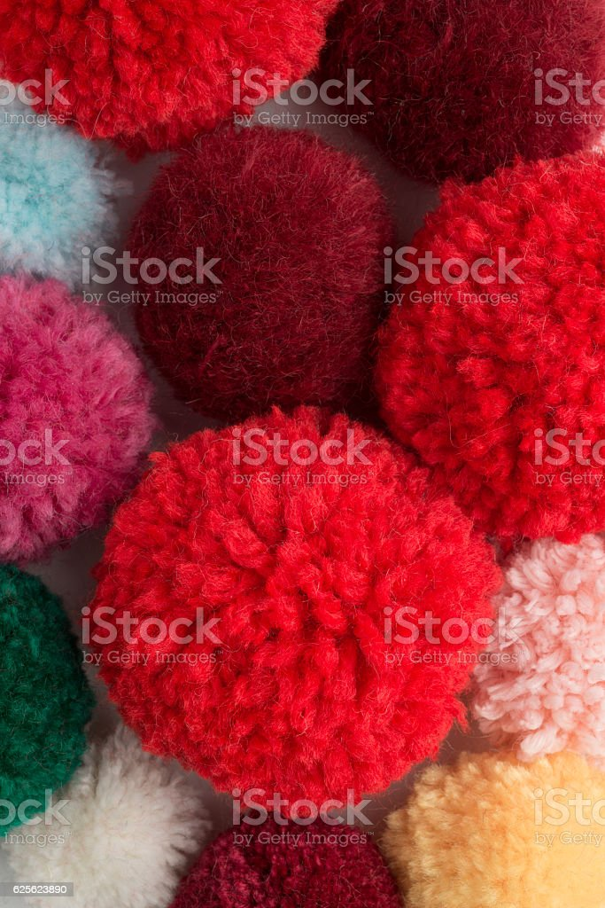 Colour Pom-poms stock photo