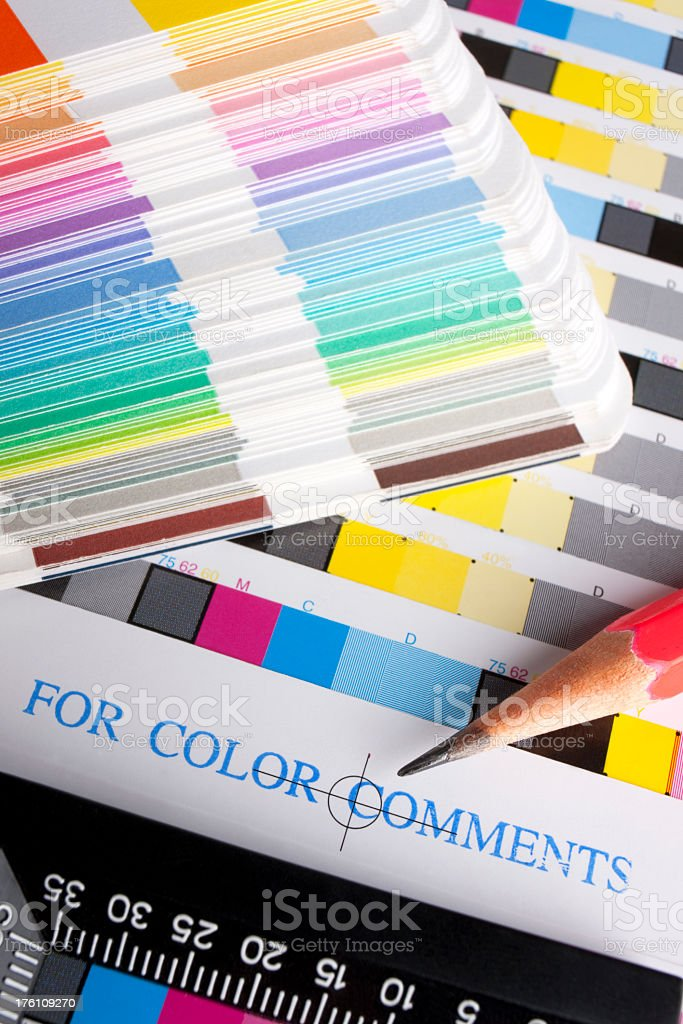 Colour proofs and swatches. stock photo