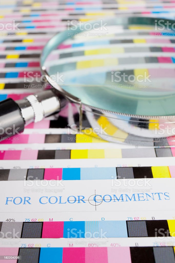 Colour proofs wating to be checked. stock photo
