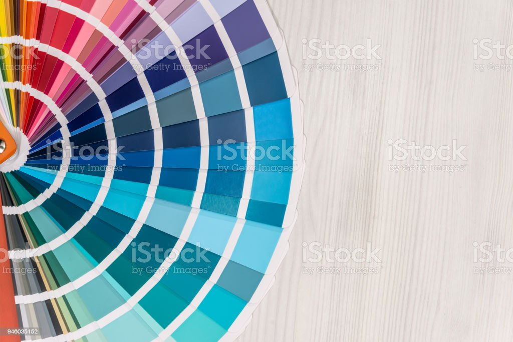 Colour sampler close up on wooden background stock photo