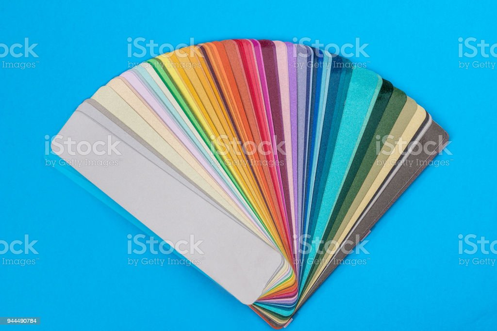 Colour samples spread in fan, close up stock photo