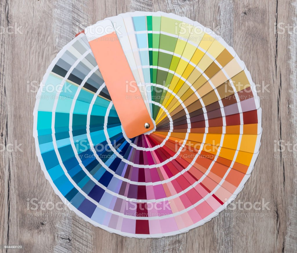 Colour swatch on wooden background lay out in circle stock photo