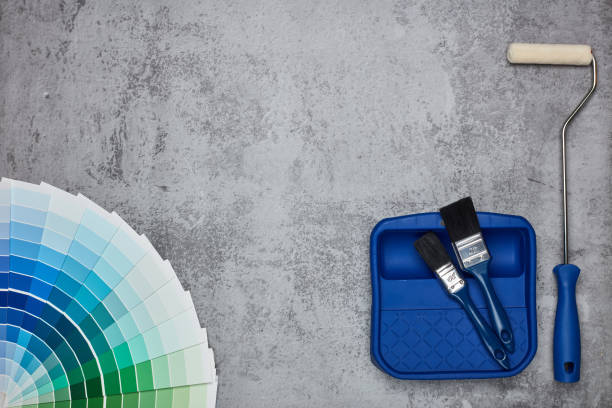 Colour swatches, painting accessories stock photo